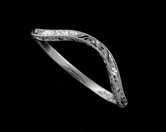 Deep Curved Ring, Vintage Style Wedding Ring, Contour Wedding Ring, Engraved Wedding Ring,Thin White Gold Wedding Band, Delicate Band 1.6mm