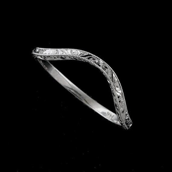 Deep Curved Ring Vintage Style Wedding Ring Contour Wedding