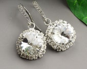 Swarovski Clear Crystal Earrings -  Swarovski Crystal Drop Earrings - Clear Crystal Bridesmaid Earrings -  Wedding Jewelry