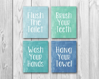 Bathroom art, printable art, instant download, brush your teeth, wash your hands