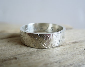 Personalized Raw Silk Textured Sterling Silver Band