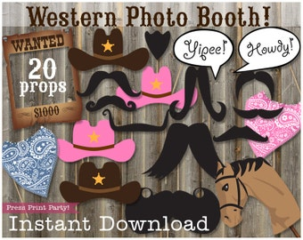 Wild West Photobooth, Cowgirl Props, Cowboy Props, Western Photo booth printables, DIY Western Props, Wild West Props,  Cowboy Photobooth