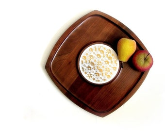 Mid Century Modern Walnut Cheese Board Gold Ceramic Center Wood Serving Tray Snacks Appetizers Party Night