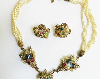 Gorgeous Robert Original Faux Pearls and Rhinestone Demi Parure