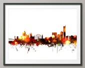 Manchester Skyline, Manchester England Cityscape Art Print - (1417)