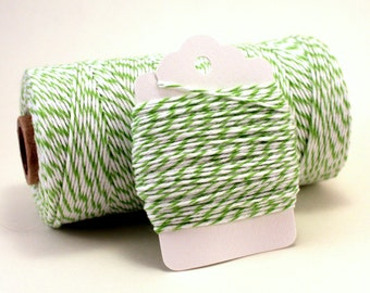 Green Striped Twine - Green and White Bakers Twine - Green String - Lime Twine - Green Packaging Twine - Twine for Baked Goods - 100% Cotton