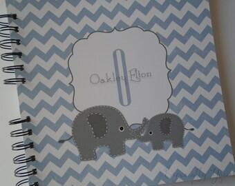 Baby Book |  Baby Memory Album | Elephant Blue Chevron Wire Bound Baby Memory Book Keepsake Album