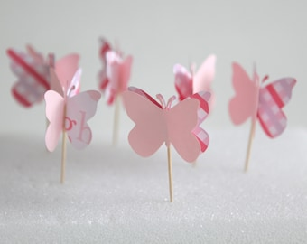pink butterfly cupcake toppers