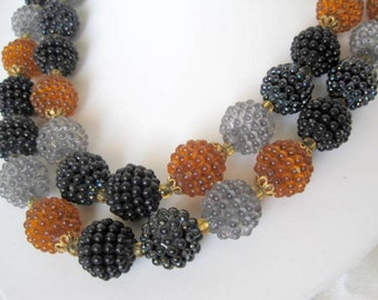 Bead Necklace Lucite 2 Strand Topaz Black