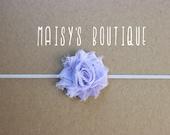 75% Off Mini Lavender Purple Shabby Flower Headband/ Newborn Headband/ Baby Headband/ Flower Girl/ Wedding/ Photo Prop