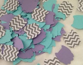 100 Pieces of LAVENDER, AQUA and Gray CHEVRON Owl Shaped Confetti - Baby Shower/Birthday Party/Die Cuts - Table Scatter