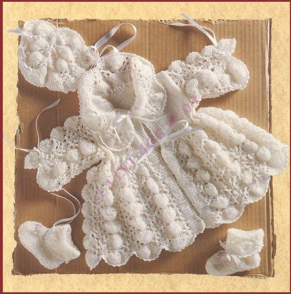 Knitting Pattern Lace Jacket : Pretty Baby 1st Size Shell Lace Matinee Jacket by avintagescot