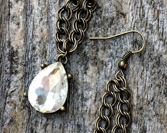 Antique bronze dangling teardrop jewel