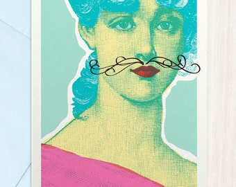 Silly Funny Greeting Card - Moustache Fun