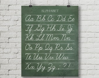 Vintage Alphabet Cursive Classroom Poster Digital Chalkboard Word Art 16x20 - Back to School Teacher Appreciation Gift
