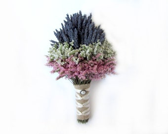 Organic Blue Lavender Mini Chic Bouquet - Toss Bouquet - Flower Girl - made to order