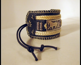 LEATHER BRACELET with HORSEHAIR braids