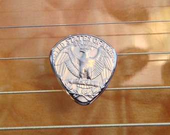 Metal Guitar Pick  - Shaped From A Quarter - Lasts Forever
