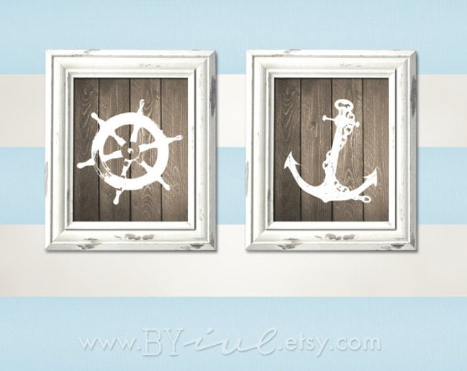 "Nursery Nautical theme, Ship wheel, Anchor, Room printable, Sailor Theme, Like Wood, Beach Decor, 8""x10"" or 5""x7"". Download Immediately"
