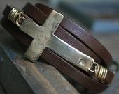 Cross Leather Wrap Bracelet