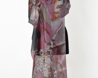 Gray orhids/Hand painted silk scarf/Painted silk scarf/Painted floral silk scarf painting silk Scarf Painted by hand luxury scarf  /S0119