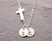 Cross Necklace, sideways cross necklace, religious necklace, initial necklace, personalized, engraved necklace, handstamped, N14