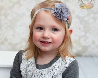 Silver Gray Headband for Baby Girl - Lace Tulle Glitter Elastic - Flower Headband - baby headband - girl headband