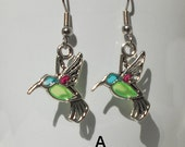 Hummingbird (Faux Stained Glass) Earrings - birthday, gift for her, girlfriend, sister, teenager, geek, mother's day, graduation