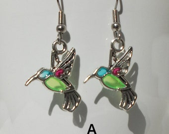 Hummingbird (Faux Stained Glass) Earrings - birthday, gift for her, girlfriend, sister, teenager