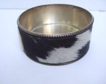 Exotic Pony Fur Chrome Plated Round Dish