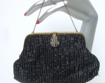 Elegant Black Glass Beaded Evening Bag Made in France c 1960