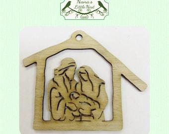 Nativity Holy Family Ornament - Laser Cut Wood