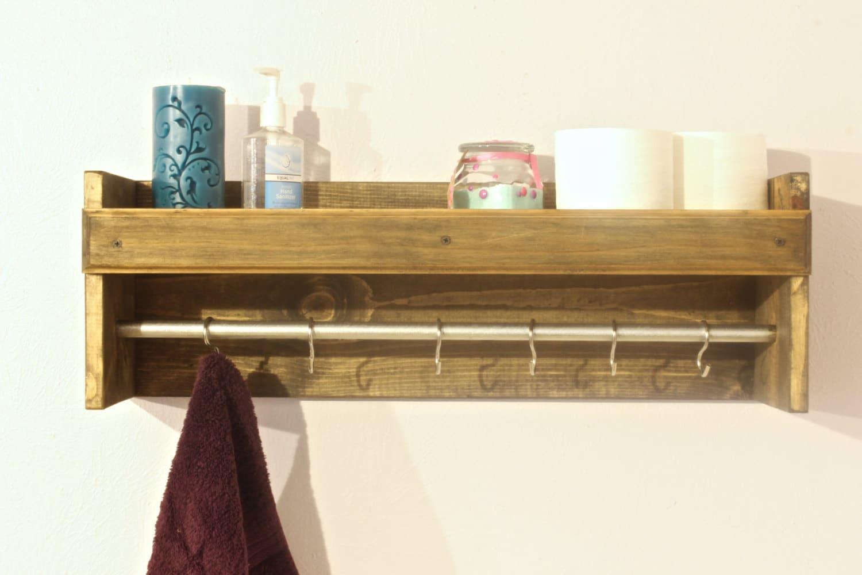 towel rack holder bathroom shelf towel robe by arrayanddisplay. Black Bedroom Furniture Sets. Home Design Ideas