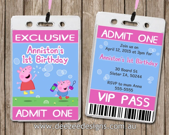 Personalised Peppa Pig VIP Lanyard Invitations x 10 by Deezee