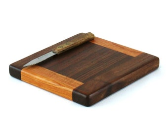 """Small Cheese Board - Black Walnut with Wild Cherry Accents - Ready to Ship -  7"""" x 6-3/4"""" x 3/4"""""""