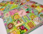 RESERVED for Eileen, Coaster Set, Patchwork Coasters, Quilted Coasters, Embroidered, Embellished