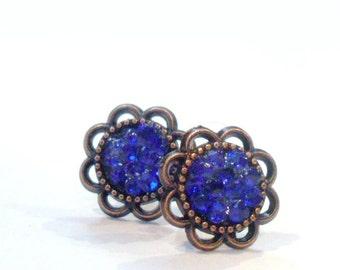 Blue Glitter Earrings, Sparkle Rhinestone Druzy Posts, Stone Earrings, Navy Blue Earrings, Blue Druzy Earrings, Faux Druzy Earrings,