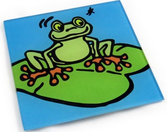 Frog Tempered Glass Trivet/Hot Plate