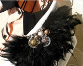 2 pcs Vintage handmade epaulet /High fashion  shoulder loop,brooch, clothes accessory / Hematite color