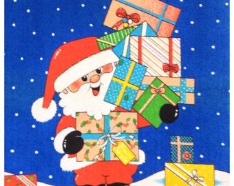 Vintage Father Christmas Tea Towel