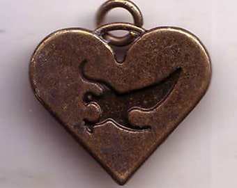 Bird in Heart Charm Good Luck Love Exonumia