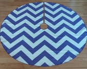 CLEARANCE Wide Purple Chevron Christmas Tree Skirt - Vibrant Purple and White ZigZag Stripe, FREE Shipping, Made in USA
