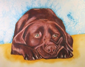 Chocolate Labrador Retriever Watercolor Print