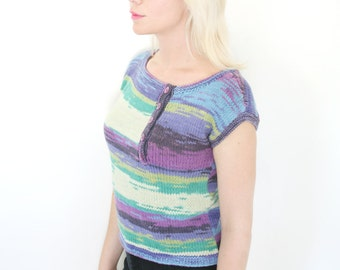 Vintage 80s Intarsia Pastel Knit Top Abstract Stripes Short Sleeves M