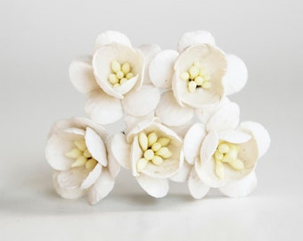 50 pcs - White Cherry blossom paper flowers - Wholesale pack