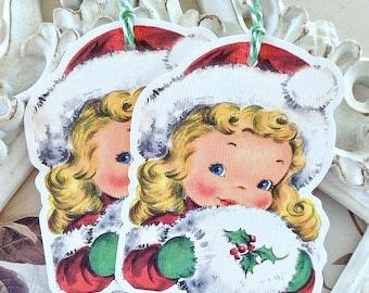 Christmas Gift Tags (6) Holiday Gift Tags-Christmas Treat Tag-Christmas Favor Tag-Winter Gift Tags-Christmas Girl-Tags for Christmas