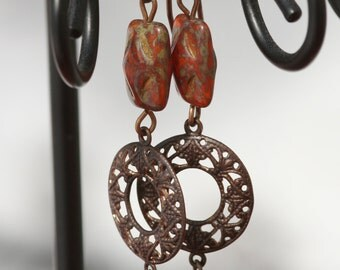 Red with Picasso finish Czech glass and Vintaj brass Dangle Earrings
