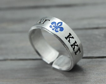 Kappa Kappa Gamma Ring, Sorority Ring, Kappa Kappa Gamma Jewelry, Fleur De Lis Ring, Blue Fleur De Lis, Hand Stamped Ring,Personal Sorority