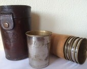 Vintage Hunting /Travel  Leather Case with Silver Plated Numbered Cups,Shot glasses