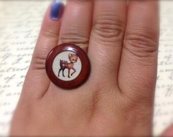 Vintage Deer Adjustable Ring. Baby Deer. Cute. Wood Jewelry. Resin. Round. Under 15 Whimsical Gifts. Vintage Style Brass Band. Adjustable.